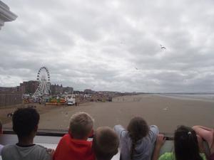 Några av barnen från dagverksamheten spanar på fiskmåsarna under en utflykt till Weston-super-Mare och Grand Pier.