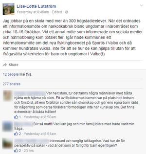 Lise-Lotte Lutström är lärare på Sofiedalskolan. Här är hela hennes Facebook-inlägg som delades flitigt under onsdagen och torsdagen.
