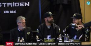 Niklas Sundström och Markus Näslund presenterades i presskonferensen på Veckefjärdens golfklubb.