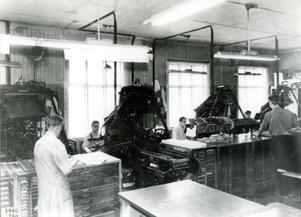 Interiör från sätteriet på 40-talet.
