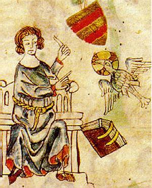 Skriftställaren Eike von Repgow avbildad i ett annat exemplar av