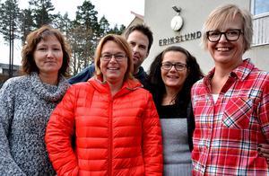 Fem av de sex nya ägarna: Therese Falk, Anna Selling, Pär Evjen, Elisabeth Bråhn och Nina Hägglöf. Erika Walker saknas på bilden.