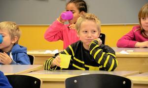 Fnitterfritt. Albin Nordling och klasskamraterna låter fluoret vandra mellan tänderna. En god vana som stärker på sikt.