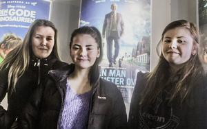 Ida Nord, Anna Lundberg och Louise Larsson som går i åttan på Stenbergaskolan har just sett En man som heter Ove, en historia de tagit avstamp i för diskussioner i ämnet svenska.
