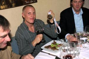 EM-guldet firades på restaurang i Turin under kvällen.