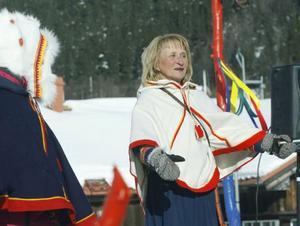 Kjerstin Valkeapää vid årets kulturdagar, Lopme naestie, i Funäsdalen. (Arkivbild)