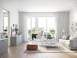 Lägenheterna som byggs på Storsjö Strand har mycket ljusinsläpp och öppna planlösningar.