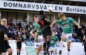 Kval till Svenska Cupen 2014. Linus Zetterström, Omar Jagne och Gustav Sundström i aktion. Dalkurd vann matchen med 2–1.