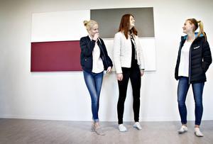 Cornelia Agardh, Moa Ivarsson och Ellen Bäcke gillar nya skolan. Särskilt färgsättningen i högstadiedelen – lila och grått – gillar eleverna.