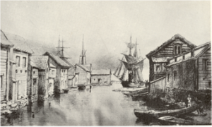 Bankdirektören Rudolf Gagges teckning av Stångån från 1872 visar hamnmagasin och ett fartyg något större än de mälarjakter som användes för transporten till Stockholm.