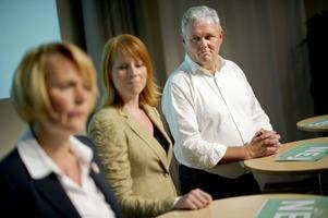 Centerpartiets tre partiledarkandidater, Anna-Karin Hatt, Annie Lööf, Anders W Jonsson.