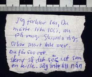 Sommarstugemorden lapp från häktet Johanna Möller