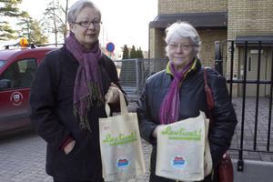 Inte på hal is. Birgitta Eriksson och Iris Norlin har just besökt kommunhusets reception och fått halkskydd. Ryktet om gratisskydden har spridit sig. Allt som behövs är namn och personnummer.