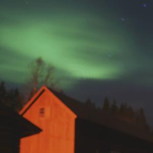 I Våmhus i Dalarna var det riktigt grönt på himlen.
