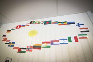 I kapprummet får en flaggkonstellation symbolisera mångfalden på förskolan.