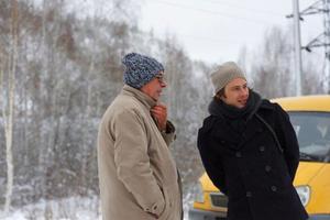 Sacha Batthyany med sin fader under en resa i farfaderns fotspår, till Sibirien. I boken