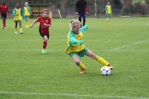 Under lördagen och söndagen avgjordes Ljusdalscupen för 9-, 10- och 11-åringar på Älvvallen i Ljusdal. På bilden är det Alva Fajersson som kämpar för Ljusdal i ett hett anfall mot Arbrå.