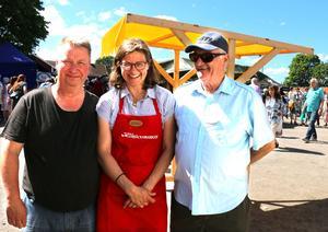Thomas Rehnström, Maria Gunnarsson och Roger Lind på Lerbäcksmarken år 2017.