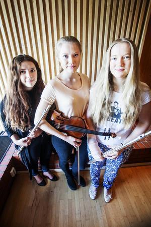 Eloina Savva, Linda Johansson och Caroline Johansson spelar i sommarspelmanslaget.    – Vi ville ha ett sommarjobb och vi var med förra året. Det var kul så vi sökte igen, berättar Linda.