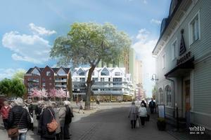 Det nya kvarteret i Norrtälje hamn, sett från Åtellets entré på Sjötullsgatan. Markägaren Centrumfastigheter i Norrtälje AB hoppas på byggstart i början av nästa år.