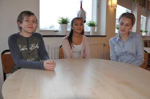 Diskussionerna i skolan blir bättre när både tjejer och killar deltar, tycker åttorna Oscar Hugosson, Wiktoria Nuri och Wendela Eriksson.