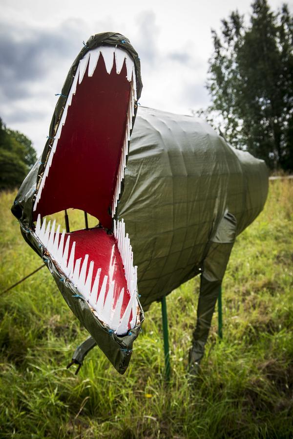 Jack Rönströms senaste skapelse väcker stor nyfikenhet hos förbipasserande i Matfors. Det är en Tyrannosaurus Rex som han tillverkade i vintras genom att forma ett stålskelett av armeringsjärn. En vanlig grön presenning blev skinn.