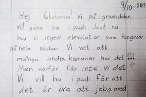 Brevet som treorna på Gruvrisskolan skrev till kommunen.