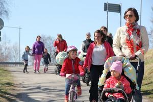 Ett 20-tal personer tågade i barnvagnsmarschen genom Ljusdal.