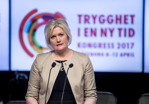Partisekreteraren  Lena Rådström Baastad vid (S) vid kongressen i Svenska Mässan 2017