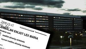 En lex Maria-anmälan har upprättats efter att en patient ramlat ur sängen.