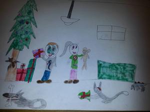 Molly Bylund, 8 år, från Bredbyn har ritat den här fina julteckningen. Här har barnen och djuren alla fått klappar. Och i fönstret ser man tomtens luva när han skyndar vidare till nästa familj.