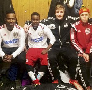 Fyra nyförvärv i Hede gjorde fina insatser under helgen. Från vänster: Farah Ahmed, Abdikarim Mohammed, Erik Olofsson och Jesper Persson.