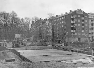 Bygge av det gamla polishuset, november 1956.
