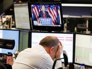 En finansmäklare i Frankfurts reaktion på amerikanska valet.