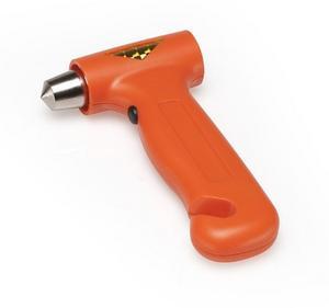 Säkerhets- eller fönsterhammare med kniv för att skära av bilbältet finns i många olika modeller. Det här är en variant.