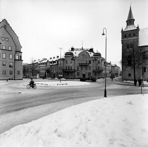 Engelbrektsplan med Domkyrkoesplanaden och Vasagatan. Till höger i bild syns Missionskyrkan.