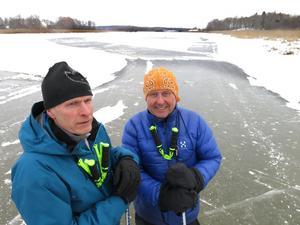 Claes Wennberg och Per Berglund på tunn is.