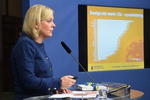 Finansminister Magdalena Andersson (S) tycker det går mycket bra för Sverige.