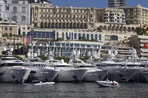 Yachts are seen during the 22nd edition of the Monaco Yacht Show, Wednesday, Sept. 21, 2011, in Monaco. The Monaco Yacht Show, taking place at Port Hercules in Monaco, is the only boat show devoted exclusively to luxury yachting. (AP Photo/Lionel Cironneau)