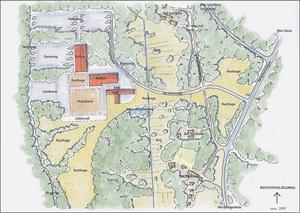 Nya vägar behövs. Karta över anläggningen med omgivningar.