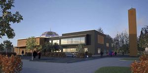 Så här är det tänkt att det islamiska centret ska se ut då det är färdigbyggt. Illustration: Tina Wik Arkitekter AB.