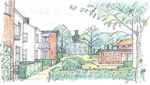 Enligt det aktuella förslaget bebyggs marken kring Älgbostads gård med 55 bostäder i tre grupper. I den mellersta gruppen blir det flerfamiljshus, varav ett – det blågrå pyramidhuset – sticker ut.
