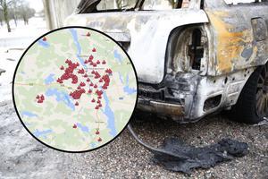 Risken att få sin bil uppbränd varierar beroende på var du bor, visar LT:s kartläggning av bilbränder.