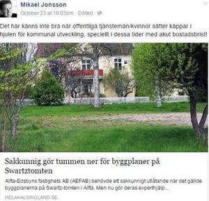 Politikern Mikael Jonssons (M) utspel på Facebook.