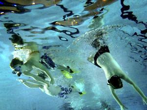 Det blev många dyk denna söndag för nybörjargruppens 16 deltagare.
