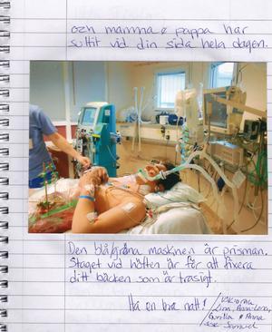 Under tiden William låg nedsövd skrev personalen på Intensivvårdsavdelningen dagbok till honom.