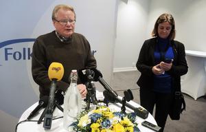 Försvarsminister Peter Hultqvist under sin presskonferens vid Folk och Försvar.