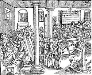 I äldre tid undervisades i ett gemensamt rum med många klasser samtidigt. Denna bild kommer från Tyskland 1592. Som tydligt framgår var riset ett viktigt inslag i undervisningen.