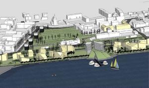 Så här såg skisserna ut över den tänkta stadsdelen Storsjöstrand när planerna visades 2007.    Foto: Sweco