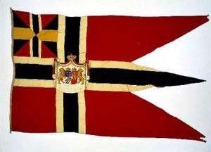 Kunglig norsk unionsflagga. I sin bitterhet för att ha blivit avsatt som kung av Norge krävde Oskar II att norrmännen skulle skicka tillbaka hans kungliga unionsflaggor.